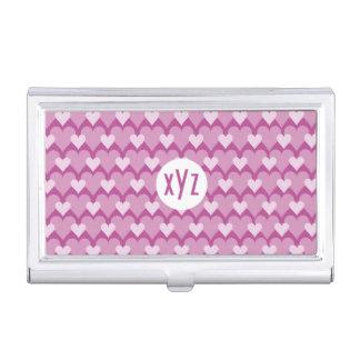 Pink Hearts custom business card holder