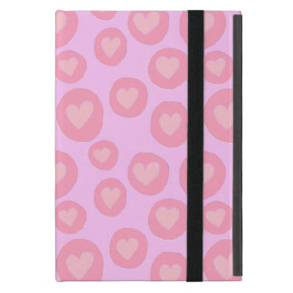 Pink hearts cute girly pattern hand painted pastel cover for iPad mini