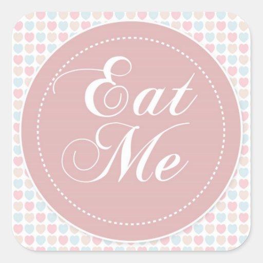 Pink Hearts 'Eat Me' Candy Buffet Sticker