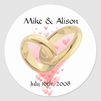 Pink Hearts & Gold Rings Wedding Stickers