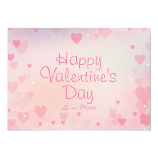 Pink Hearts Happy Valentine's Day Card for Her 13 Cm X 18 Cm Invitation Card