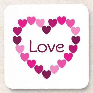 Pink hearts heart coaster