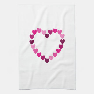 Pink hearts heart kitchen towel
