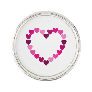 Pink hearts heart lapel pin