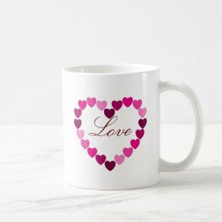 Pink hearts heart mug