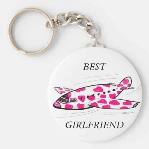Pink Hearts Love Plane Key Chain