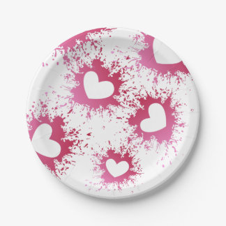 Pink Hearts Love Spatter Paper Plates