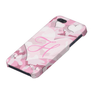 Pink Hearts Monogram Camouflage Your Letter iPhone 5 Cover