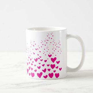 Pink hearts basic white mug