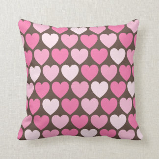 Pink hearts on brown preppy chic custom pillow