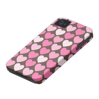 Pink hearts on brown preppy chic iPhone 4 case