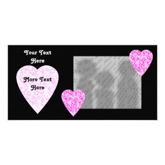 Pink Hearts. Patterned Heart Design. Customized Photo Card