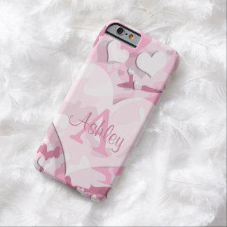 Pink Hearts Personalize Monogram Camouflage Barely There iPhone 6 Case