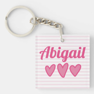 Pink Hearts Personalized Key Ring