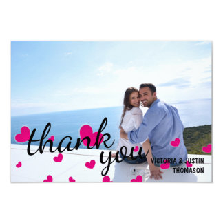 Pink Hearts Photo - Thank You Flat Card
