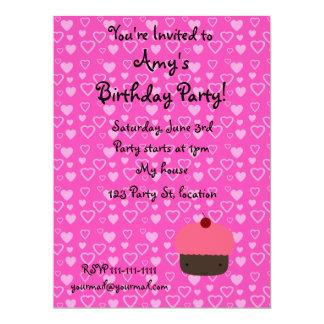 "Pink hearts pink cupcake birthday invitations 6.5"" x 8.75"" invitation card"
