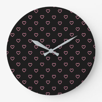 Pink Hearts Polka Dot Pattern Acrylic Wall Clock