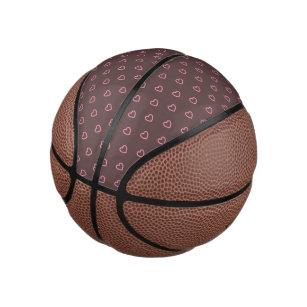 Pink Hearts Polka Dot Pattern Mini Basketball