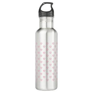 Pink Hearts Polka Dot Pattern Water Bottle 710 Ml Water Bottle