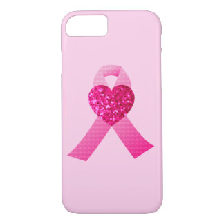 Pink Hearts Ribbon Breast Cancer Awareness Glitter iPhone 7 Case