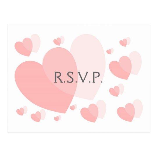 Pink Hearts RSVP Postcard Insert