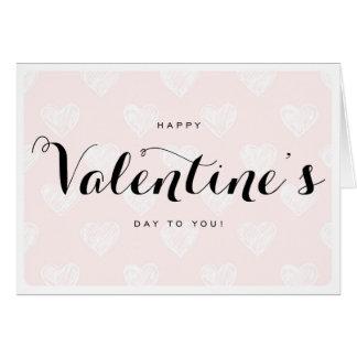 Pink Hearts Sketch Pattern Valentine's Day Card