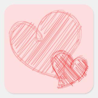 Pink Hearts Sketch Sticker