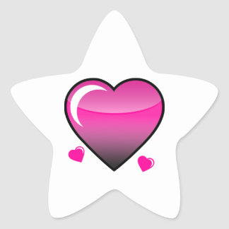Pink Hearts Star Stickers