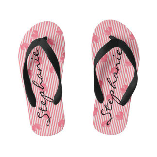 Pink Hearts & Stripes Kid's Thongs