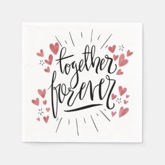 Pink Hearts Together Forever Wedding Bridal Shower Disposable Serviette