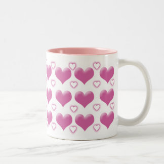 Pink Hearts Two-Tone Mug