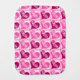 Pink hearts Valentines Day Burp Cloths