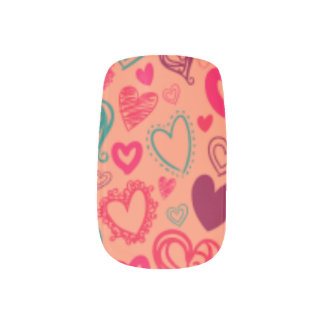 Pink Hearts Vintage Abstract Nail Single Design Fingernail Transfer