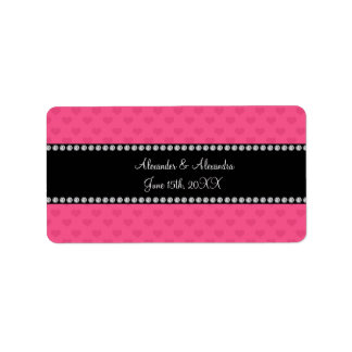 Pink hearts wedding favors address label