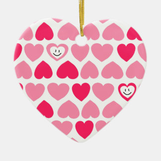 Pink Hearts with 2 Smiling Hearts Ceramic Ornament