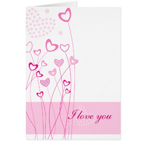 Pink Hearts with flowers Greeting Card Greeting Cards