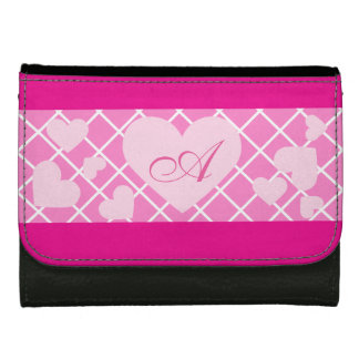 Pink Hearts with Girly Monogram Leather Wallet