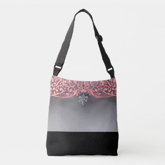 Pink Hearts with Silver Fleur di lis Crossbody Bag