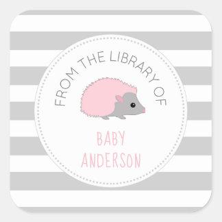 Pink Hedgehog girl baby shower bookplate / book Square Sticker