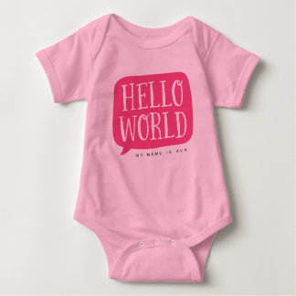 Pink Hello World Personalized Name Baby Bodysuit
