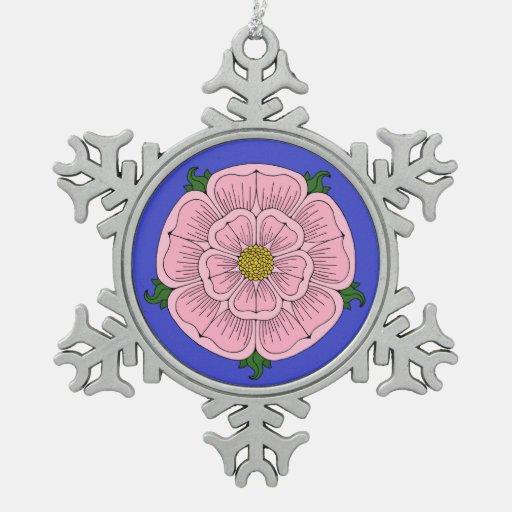 Pink Heraldic Rose Pewter Snowflake Ornament