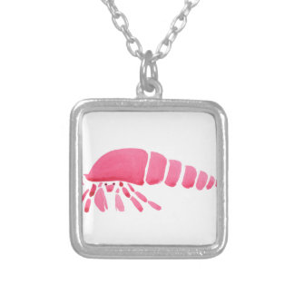 Pink Hermit Crab Silver Plated Necklace