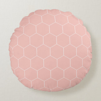 Pink Hexagons Round Cushion