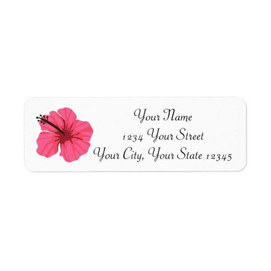 Pink Hibiscus Address Label