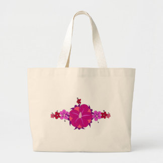 Pink Hibiscus and Honu Print Large Tote Bag