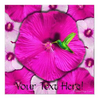 Pink Hibiscus and Hummingbird Invitation