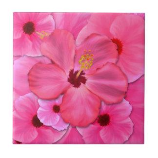 Pink Hibiscus Ceramic Tile