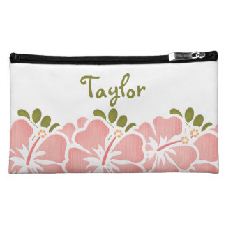 Pink Hibiscus Cosmetic Bag