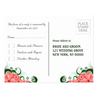 Pink Hibiscus Floral Elegant RSVP Reply Postcard