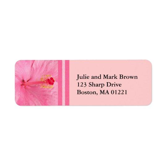 Pink Hibiscus Floral Return Address Label
